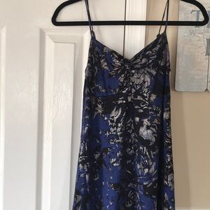 Express Blue and Metallic Floral Dress Sz S
